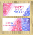 christmas and new year banners on wooden vector image