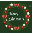 Christmas wreath with red and silver balls vector image