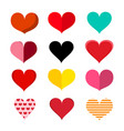 colorful hearts set - paper cut retro heart vector image vector image