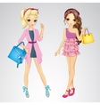 Couple Girls With Shopping Bags vector image