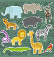 cute cartoon tropical and jungle animals stickers vector image vector image