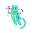 cute cat holding a magic wand valentines day vector image