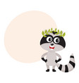 cute little raccoon character champion winner vector image vector image