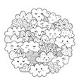 doodle clouds circle shape pattern for coloring vector image