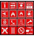 Fire alarm symbols set vector image