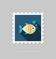 fish stamp summer vacation vector image vector image