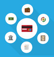 flat icon finance set of greenback interchange vector image vector image