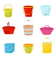 flat set of colorful buckets plastic vector image vector image