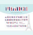 france font french flag colors paper cutout vector image vector image