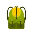 Green touristic backpack flat icon vector image vector image