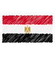 hand drawn national flag of egypt isolated on a vector image vector image