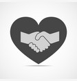 handshake and heart icon vector image vector image