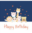 happy birthday card background with animals group vector image