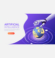 isometric web banner ai robotic hand control the vector image