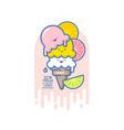 kawaii smiled ice cream orange lime vector image vector image