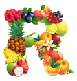 Letter R composed of different fruits with leaves vector image vector image