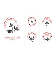 linear cotton icon set vector image vector image