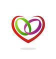 love heart ring wedding logo vector image vector image