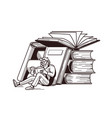 man reading books vector image vector image