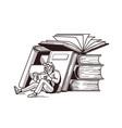 man reading books vector image