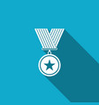 medal with star icon isolated with long shadow vector image