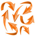 orange arrows set curved icons collection vector image vector image