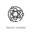 outline atomic orbitals icon isolated black vector image vector image