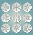 paper christmas balls with snow flakes vector image