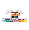 pile books isolated on white vector image vector image