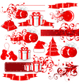 red holiday icons vector image vector image