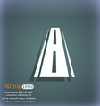 Road icon sign On the blue-green abstract vector image