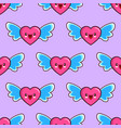 seamless pattern of smiling hearts with wings on vector image
