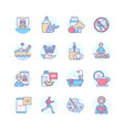 self-care - modern line design style icons set vector image