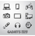 set handdrawn gadget icons with - notebook vector image