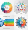 set of 4 infographic templates with 8 processes vector image vector image