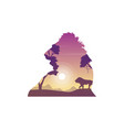 silhouette of lion on the hill beauty landscape vector image
