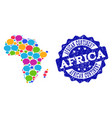 social network map of africa with message clouds vector image