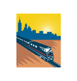 Speeding passenger train city skyline vector image vector image