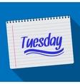 Spiral calendar tuesday notebook notepad long vector image vector image