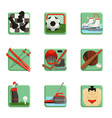 sport icons set chess baseball football hockey vector image vector image