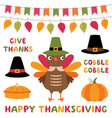 thanksgiving symbols cartoon set - a turkey hats vector image