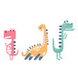 three cute colorful dinosaurs vector image