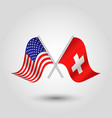 two crossed american and swiss flags vector image vector image