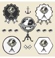 Vintage globe ancient symbol emblem label vector image