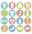white icons lady clothes vector image