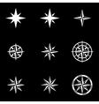 white wind rose icon set vector image vector image