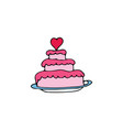 wedding cake cartoon hand drawn icon vector image
