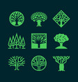 abstract green tree logos creative eco forest vector image