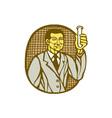 Asian Scientist Test Tube Woodcut Linocut vector image vector image