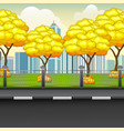 autumn city background vector image vector image